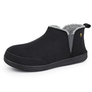 Men's Warm Lined Micro Suede Sheepskin Boots Slippers Elastic Dual Gores Shoes