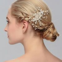 Fashion Wedding Crystal Rhinestone Hair Comb Clip Pearl Beaded Bridal Headpiece