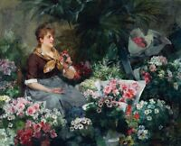 The Flower Seller Painting by Louis Marie de Schryver Art Reproduction