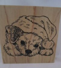 Stampendous 2016 Patient Pup W174 Rubber Stamp Puppy Dog Christmas Santa Hat