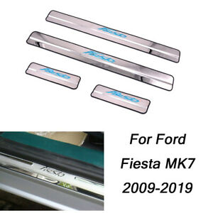 For Ford Fiesta MK7 Stainless Door Sill Kick Scuff Plate Protector Trim 09-2019