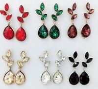 Fashion Ancient Gold Elegant Glass Crystal Rhinestone Ear Stud Tassel Earrings