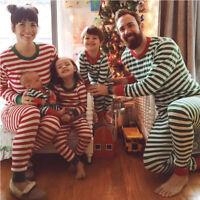 Family Christmas Pajamas Suit Long Sleeve Striped Pant Kid Mom Dad Sleepwear NEW