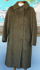 True Vintage 1960's MOD Mohair Coat Jacket Dellbury Made England Olive Tan M L