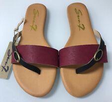 WOMEN'S Size 9 SEVEN 7 SANDALS FLAT SLIDE VEGAN FOOTWEAR LEATHER KOOPIE Red