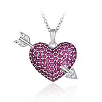 925 Sterling Silver Lab Created Ruby Gemstone Heart And Arrow Necklace