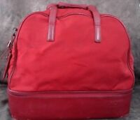 """TUMI Weekender Red Nylon & Leather Carry On Bag 17"""" x 9.5"""" x 14.25"""" Vtg VGC"""