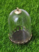 DIY Glass Cylinder Bottle Pendant 30X20mm with Bronze Base Memory Locket Wide