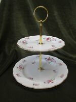 FINE  VINTAGE PLATED COLCLOUGH CHINA ENGLAND  2 TIER CAKE  STAND 'PINK ROSEBUD'