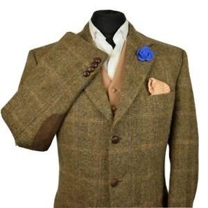 Harris Tweed BARUTTI Country Brown Tailored Hacking Jacket 44L #893 PRISTINE