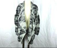 Lucky Brand Womens Size L Drape Open Front Cardigan Sweater Black Gray Geometric