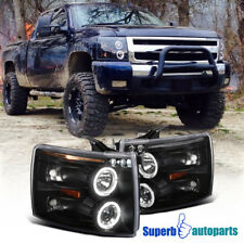 For 2007-2014 Chevy Silverado LED Halo Projector Headlights Lamps Black