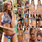 Womens High Neck Push-Up Padded Bikini Set Bandage Swimwear Swimsuit Beachwear