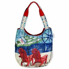 SUN N SAND CANVAS SCOOP TOTE BEACH CRUISE RESORT BAG PAUL BRENT ART RED CHAIRS