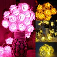 20 LED Rose Flower Fairy String Lights Christmas Wedding Party Tree Lights Decor