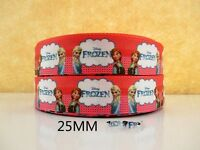 2 METRE NEW RED FROZEN ELSA + ANNA RIBBON SIZE 1 INCH BOWS HEADBANDS CAKE HAIR