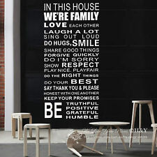 FAMILY HOUSE RULES PROMISE WALL DECAL QUOTE 60 × 120cm VINYL STICKER DECOR ART