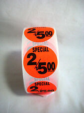 """1000 Round Bright Red SPECIAL 2/5.00 Price Point Retail Labels 1.5"""" Stickers"""