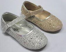 Girls Flats w/Glitter (f54a) TODDLER Flower Girl Pageant Dress Pink Gold Silver