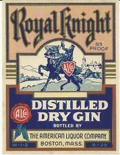 Royal Knight Distilled Dry Gin Original Vintage Label Boston, Massachusetts