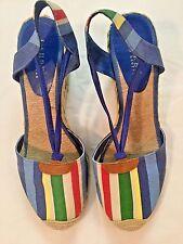 Lauren Ralph Lauren Cala Blue Striped Espadrille Wedge Sandal Shoes Sz 10 M