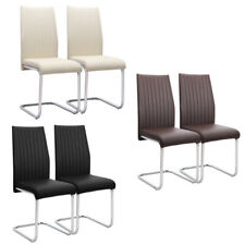 Cantilever Faux Leather Upholstered Dining Chairs Office Chair Z-Shaped Seats