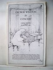 GEORGE WINSTON IN CONCERT Playbill CAPITOL THEATRE Concord NH 1986