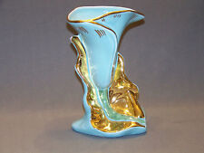 Vintage lily flower vase Aqua blue 22K gold trim Kass China Company