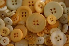 100 YELLOW Mixed Sized New Buttons - Great for Sewing Craft Scrapbooking & more