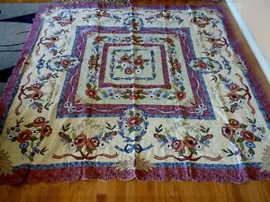 """NEW Appliqued / Embroidery Fantasy Garden Quilt  87"""" x 87"""""""