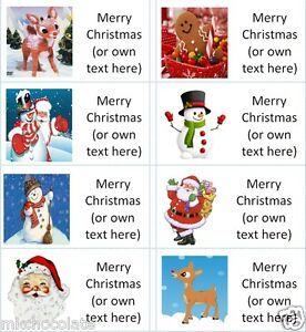 40x Personalised K Christmas/Xmas/gift tags/gift labels/stickers/party/cake/bag