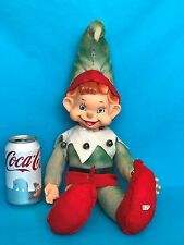 "Vintage Large 19"" Christmas Pixie Elf Santa's Helper Suffed Doll Toy Japan Label"