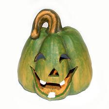 Trendy Kürbis Windlicht grün 13x12 cm HERBST DEKO Halloween Händler Posten 5727