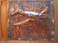 1940s WW2 era Bomber Plane Hammered Copper Artwork Wood Book Frame Trench Art