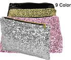 Pop Women Sparkling Sequins Clutch Evening Party Bag Handbag Bling Purse Silver
