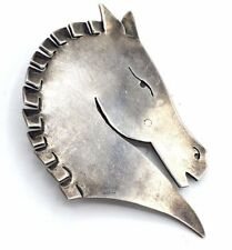 BIG Vtg NYC Modernist MADELEINE TURNER Sterling Silver HORSE HEAD Pin