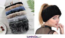 Winter Pure Rabbit Fur Knit Headband Stretching Adjustable / Neck Warmer Soft