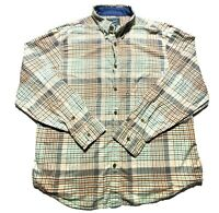 Woolrich Mens Green Tan Plaid Flannel Long Sleeve Button Up Casual Shirt Size XL