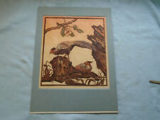 1965 Russian Lithograph Birds In Flora with Artist seal to the back on card