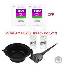 2LOT CLAIROL BW2 Powder Hair Bleach Lightener 1oz + Developer 20V 2oz+Bowl+Brush