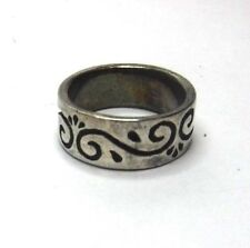 Oxidized Artisan Styled Sterling Silver Scrolled Wide Band Ring Sz 6