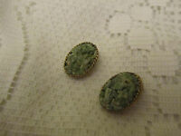 """Gold Tone & Green Crystal Clip On Earrings of Unknown Vintage - 0.75"""" long"""