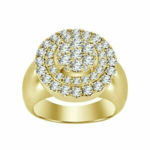 1.30ct NATURAL ROUND DIAMOND 14K SOLID YELLOW GOLD RING FOR MEN SIZE 9 TO 11