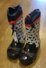 New Fall 2017 TucTuc black/white kitty rain boots, toddler 8,NWT
