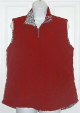 Mountain Lake Red & Red/Black/White Flower Print Quilted Reversible Vest L