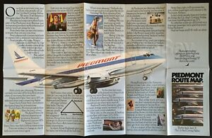 1981-82 PIEDMONT Airlines ROUTE MAP Boeing 737-200 airways ad poster brochure