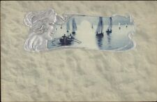 OPF Art Nouveau Harbor Face of Beautiful Woman Border Embossed Silver PC