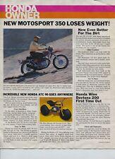 Original Honda 1970 Motorcycle Color Honda Owner Literature Motosport 350