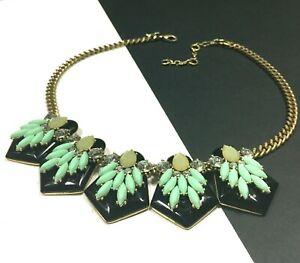 J. CREW Statement Necklace Black & Mint Green Rhinestone Gold Chain PP123M