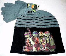 TEENAGE MUTANT NINJA TURTLES Beanie & Gloves Set Boys - Black & Grey